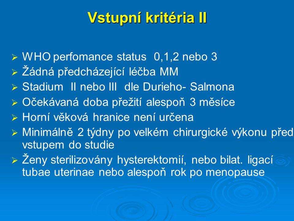 Vstupní kritéria II   WHO perfomance status 0,1,2 nebo 3   Žádná předcházející léčba MM   Stadium II nebo III dle Durieho- Salmona   Očekávaná