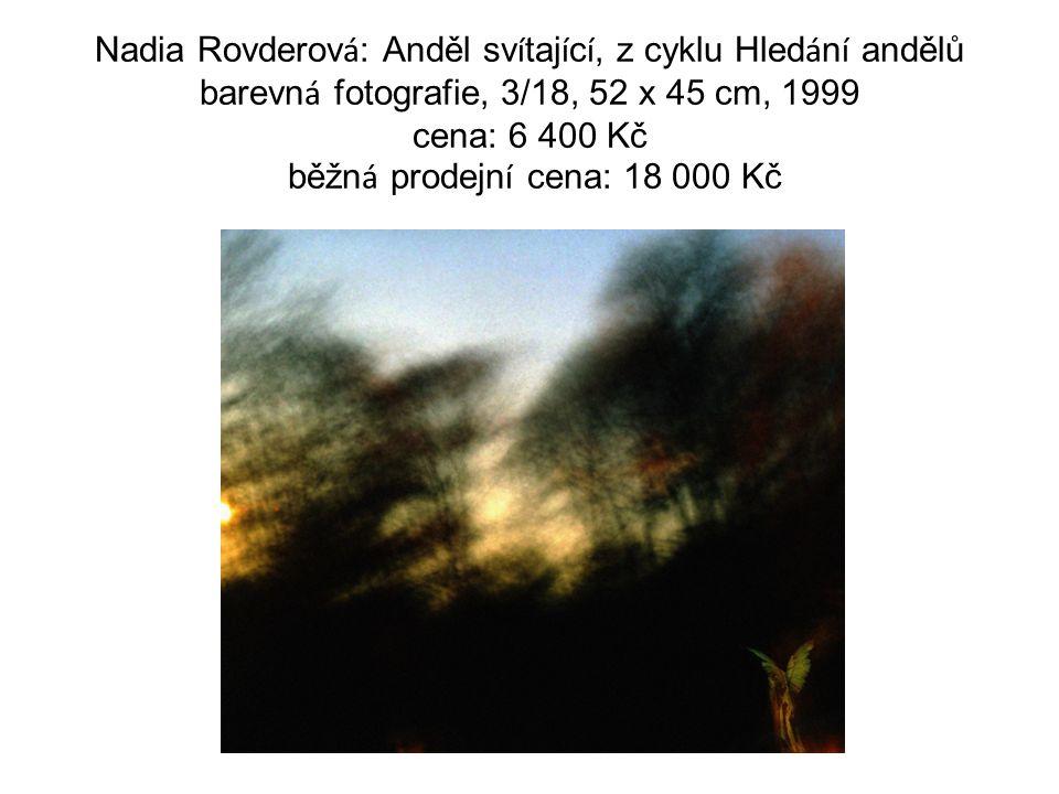 Nadia Rovderov á : Anděl sv í taj í c í, z cyklu Hled á n í andělů barevn á fotografie, 3/18, 52 x 45 cm, 1999 cena: 6 400 Kč běžn á prodejn í cena: 1