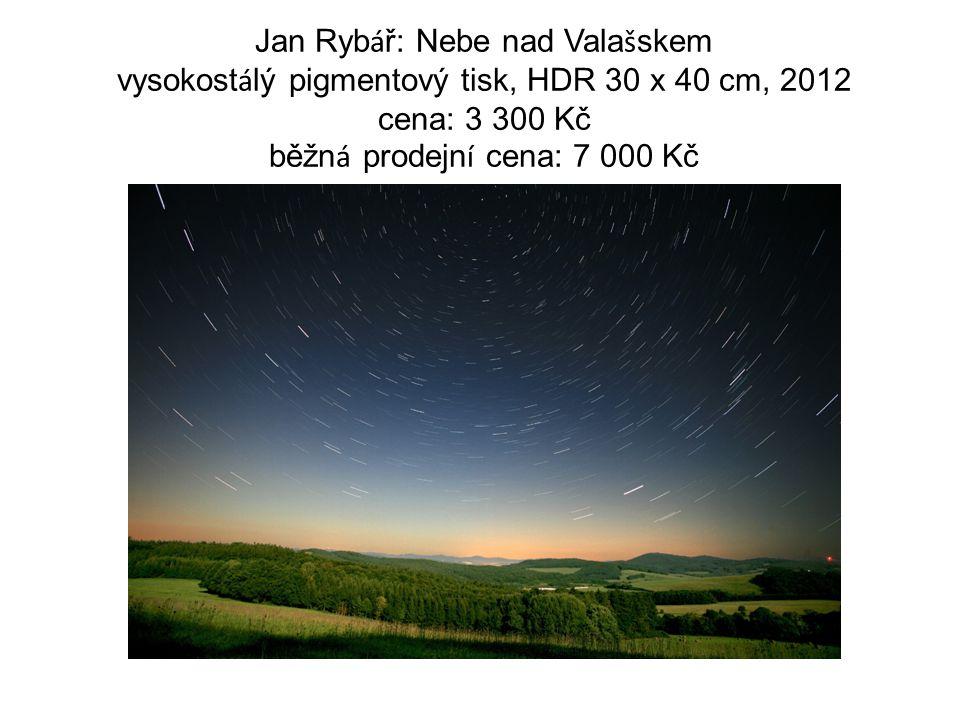 Jan Ryb á ř: Nebe nad Vala š skem vysokost á lý pigmentový tisk, HDR 30 x 40 cm, 2012 cena: 3 300 Kč běžn á prodejn í cena: 7 000 Kč