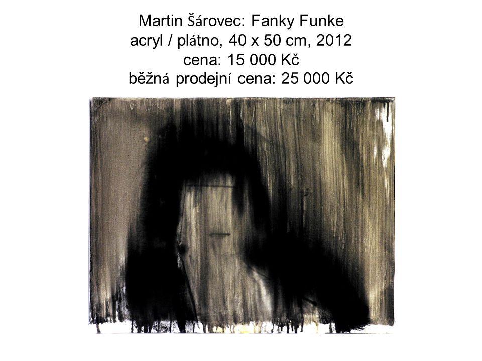 Martin Šá rovec: Fanky Funke acryl / pl á tno, 40 x 50 cm, 2012 cena: 15 000 Kč běžn á prodejn í cena: 25 000 Kč