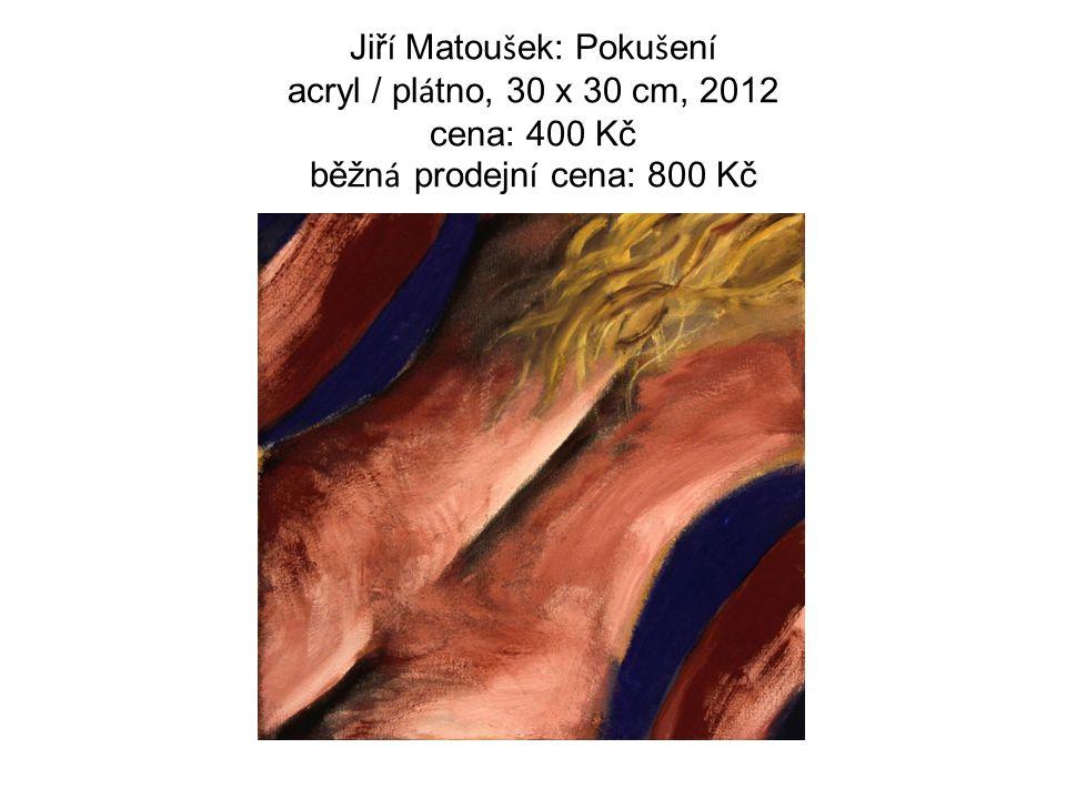 Jiř í Matou š ek: Poku š en í acryl / pl á tno, 30 x 30 cm, 2012 cena: 400 Kč běžn á prodejn í cena: 800 Kč