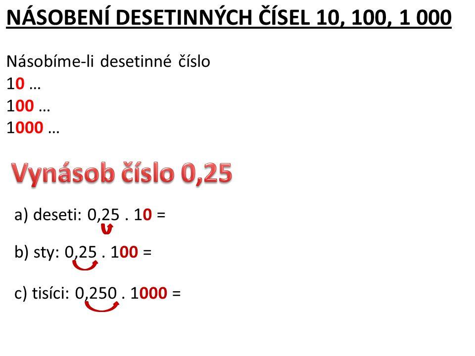 DĚLENÍ DESETINNÝCH ČÍSEL 10, 100, 1 000 Dělíme-li desetinné číslo 10 … posuneme jeho desetinnou čárku o 1 místo doleva 100 … posuneme jeho desetinnou čárku o 2 místa doleva 1000 … posuneme jeho desetinnou čárku o 3 místa doleva a) deseti: 25,3 : 10 = 2,53 b) sty: 25,3 : 100 = 0,253 c) tisíci: 25,3 : 1000 =tisíci: 0025,3 : 1000 = 0,0253