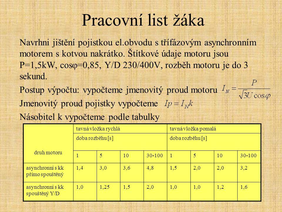 Pracovní list žáka Navrhni jištění pojistkou el.obvodu s třífázovým asynchronním motorem s kotvou nakrátko. Štítkové údaje motoru jsou P=1,5kW, cosφ=0
