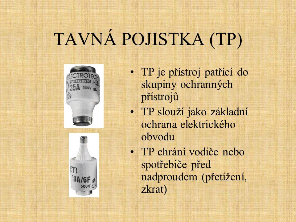 TAVNÁ POJISTKA (TP) TP je přístroj patřící do skupiny ochranných přístrojů TP slouží jako základní ochrana elektrického obvodu TP chrání vodiče nebo s