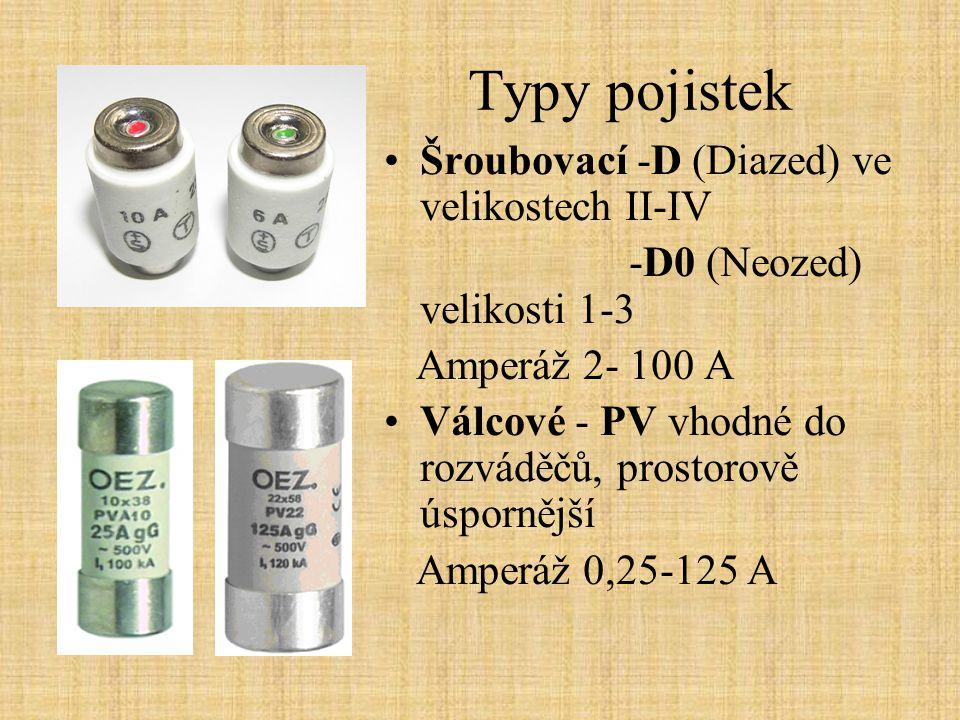 Typy pojistek Šroubovací -D (Diazed) ve velikostech II-IV -D0 (Neozed) velikosti 1-3 Amperáž 2- 100 A Válcové - PV vhodné do rozváděčů, prostorově úsp