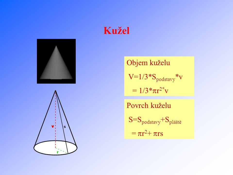 Jehlan Objem jehlanu V=1/3*S podstavy *v =1/3*a*b*v Povrch jehlanu S=S podstavy +S pláště