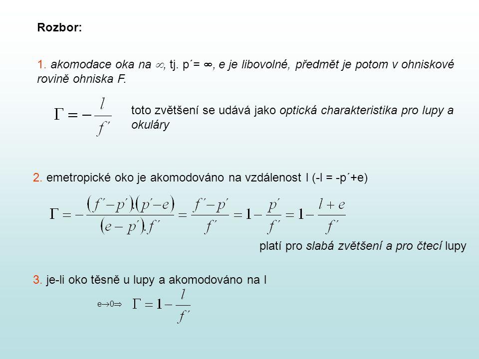 V praxi : a) jednoduchá spojná čočka s optickou mohutností 4 až 25 D, zvětšení maximálně 6,25, nejlepší plankonvexní čočka v postavení čtecí lupy je zvětšení 1,6 ;2 b) pro větší zvětšení – velmi silně čočky nebo soustavy čoček achromatická soustava – korekce barevných vad anastigmatická soustava – větší zorné pole, větší zvětšení x …sklo korunové, y…..sklo flintové