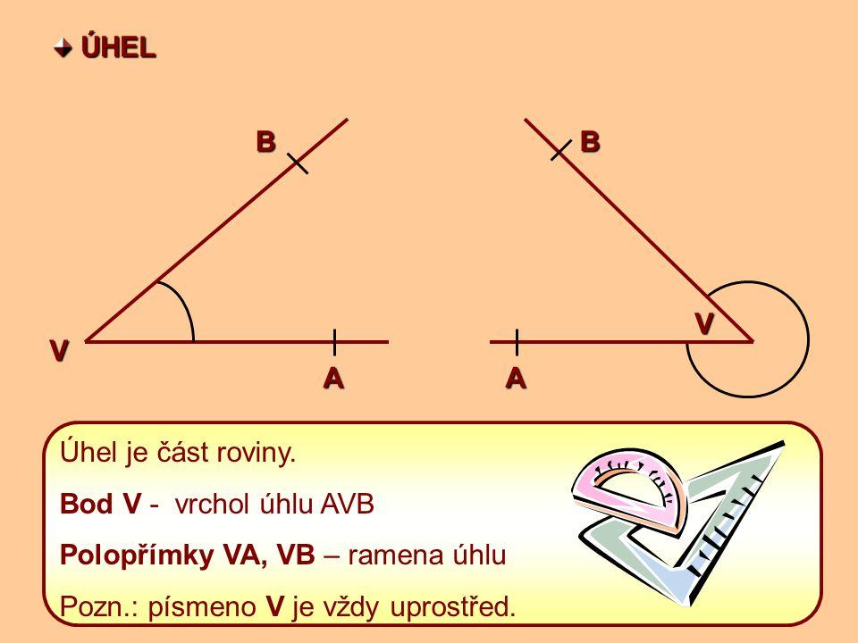 ÚHEL ÚHELBV AA VB Úhel je část roviny.