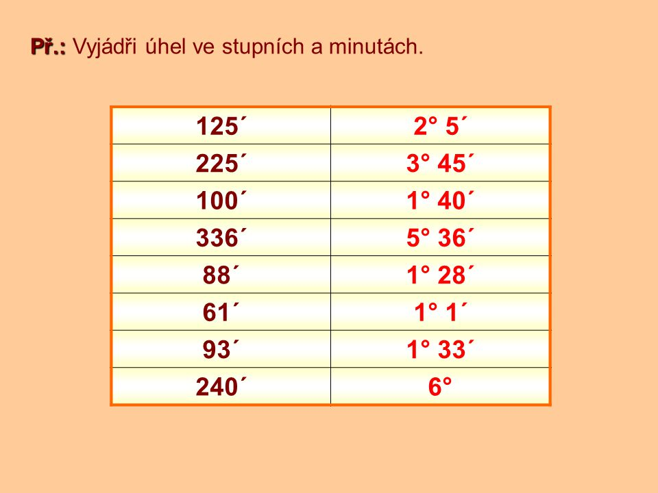 Př.: Př.: Vyjádři úhel v minutách.5° 25´ = 325´ 5.