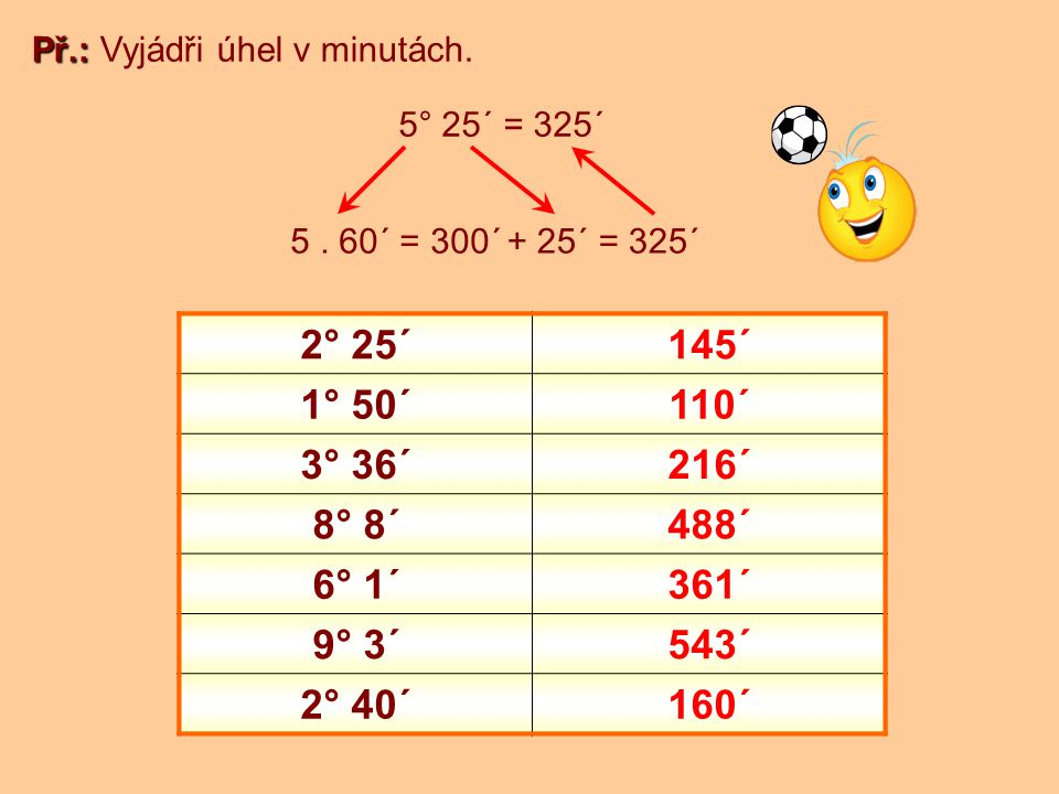 Př.: Př.: Vyjádři úhel v minutách. 5° 25´ = 325´ 5. 60´ = 300´+ 25´ = 325´ 2° 25´ 1° 50´ 3° 36´ 8° 8´ 6° 1´ 9° 3´ 2° 40´ 2° 25´145´ 1° 50´110´ 3° 36´2