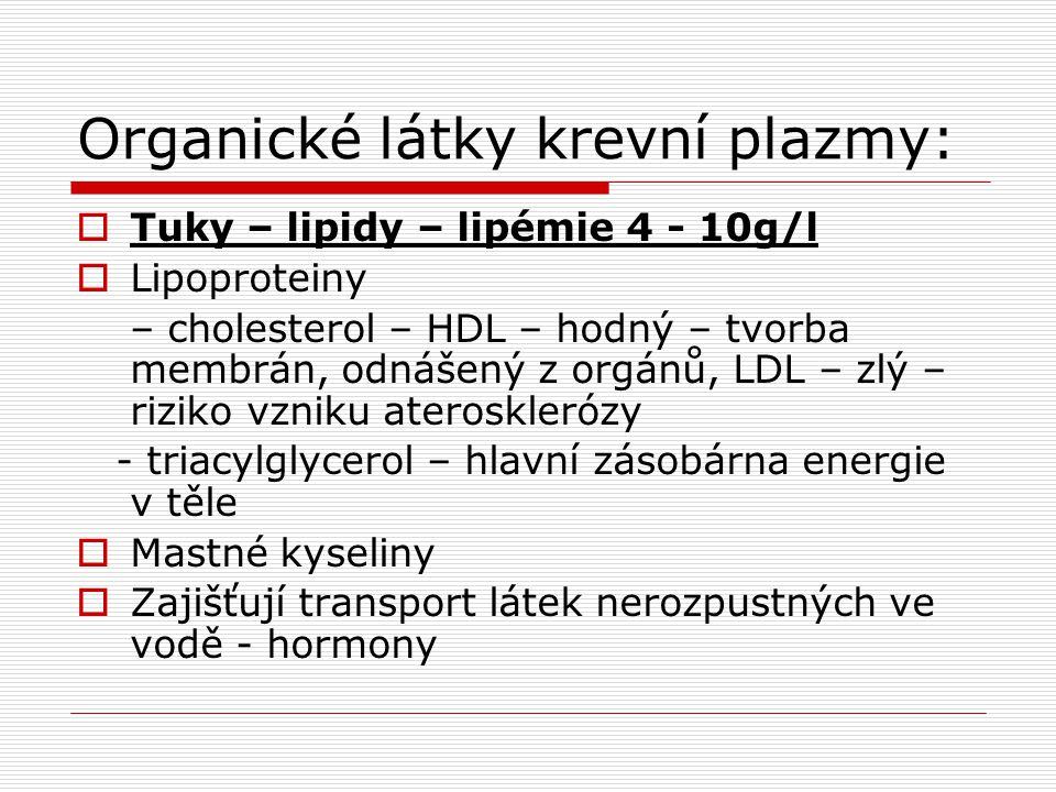 Organické látky krevní plazmy:  Tuky – lipidy – lipémie 4 - 10g/l  Lipoproteiny – cholesterol – HDL – hodný – tvorba membrán, odnášený z orgánů, LDL