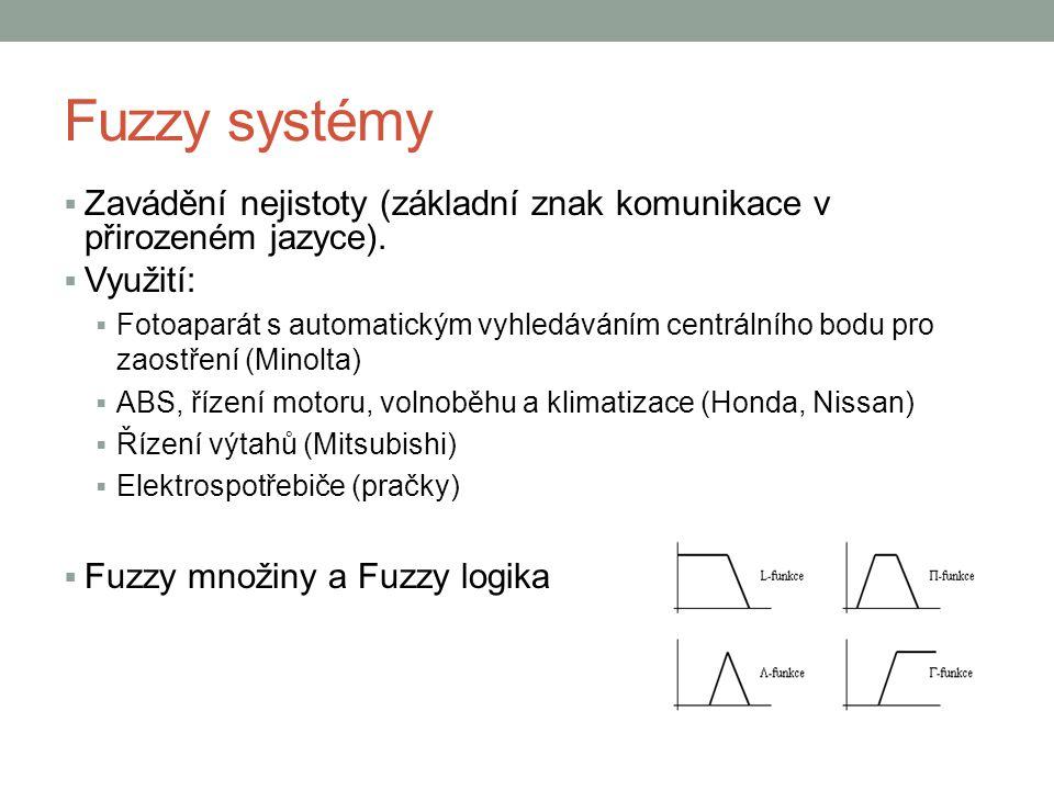 Fuzzy systémy  Zavádění nejistoty (základní znak komunikace v přirozeném jazyce).  Využití:  Fotoaparát s automatickým vyhledáváním centrálního bod