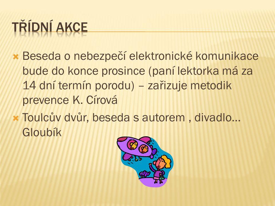  Beseda o nebezpečí elektronické komunikace bude do konce prosince (paní lektorka má za 14 dní termín porodu) – zařizuje metodik prevence K.
