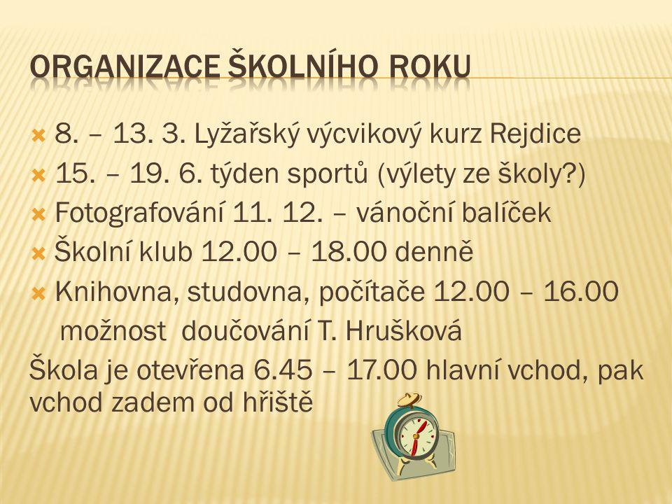  8.– 13. 3. Lyžařský výcvikový kurz Rejdice  15.