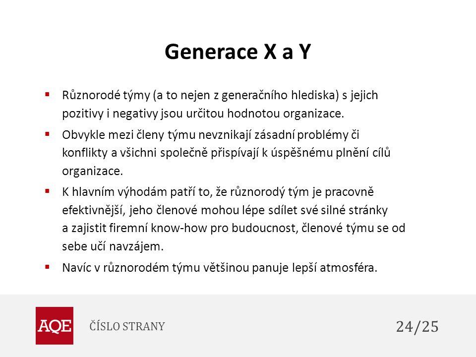 Generace X a Y  Různorodé týmy (a to nejen z generačního hlediska) s jejich pozitivy i negativy jsou určitou hodnotou organizace.  Obvykle mezi člen