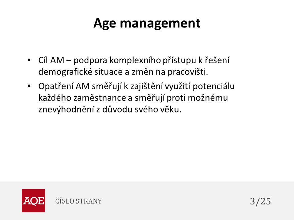 Age management Cíl AM – podpora komplexního přístupu k řešení demografické situace a změn na pracovišti. Opatření AM směřují k zajištění využití poten