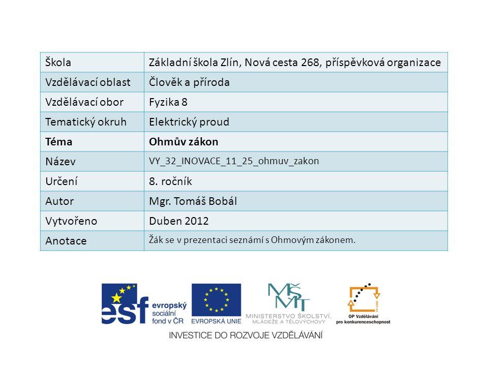 ŠkolaZákladní škola Zlín, Nová cesta 268, příspěvková organizace Vzdělávací oblastČlověk a příroda Vzdělávací oborFyzika 8 Tematický okruhElektrický p