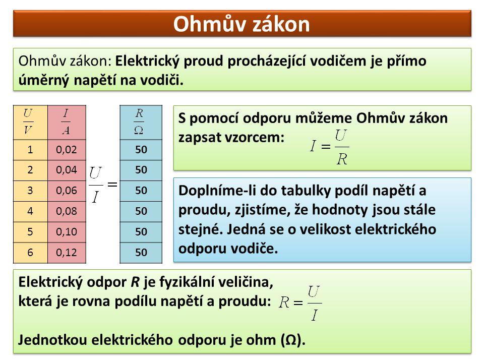Ohmův zákon Shrnutí vzorců vyplývajících z Ohmova zákona: Pro výpočet elektrického odporu: Pro výpočet elektrického proudu: Pro výpočet elektrického napětí: Převody jednotek: Odpor: kiloohm (1 kΩ = 1000 Ω), megaohm (1 MΩ = 1000 kΩ = 1 000 000 Ω) Proud: miliampér (1 mA = 0,001 A) Napětí: milivolt (1mV = 0,001 V), kilovolt (1 kV = 1000 V) Převody jednotek: Odpor: kiloohm (1 kΩ = 1000 Ω), megaohm (1 MΩ = 1000 kΩ = 1 000 000 Ω) Proud: miliampér (1 mA = 0,001 A) Napětí: milivolt (1mV = 0,001 V), kilovolt (1 kV = 1000 V)