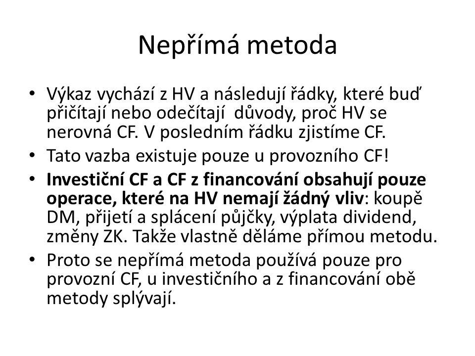 Nepřímá metoda Výkaz vychází z HV a následují řádky, které buď přičítají nebo odečítají důvody, proč HV se nerovná CF.