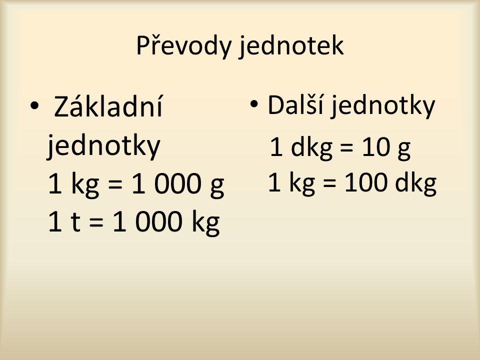 Příklady s převody jednotek 2 000 g = kg 25 kg = g 6 320 g = kg + g 8 kg 60 g = g 25 000 kg = t 30 t = kg 2 050 kg = t + kg 6 t 50 kg = kg