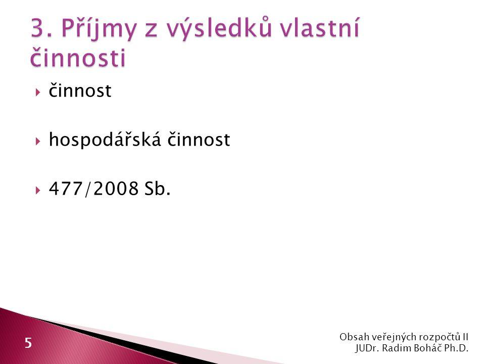  činnost  hospodářská činnost  477/2008 Sb. Obsah veřejných rozpočtů II JUDr.