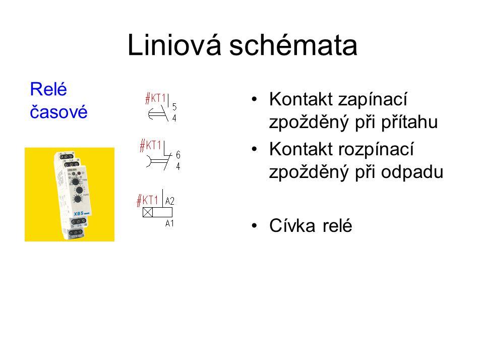 Liniová schémata Kontakt zapínací zpožděný při přítahu Kontakt rozpínací zpožděný při odpadu Cívka relé Relé časové