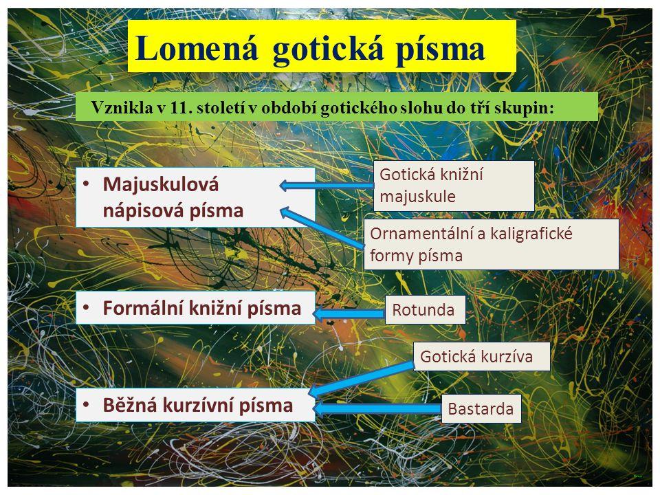 Vznikla v 11. století v období gotického slohu do tří skupin: Lomená gotická písma Majuskulová nápisová písma Gotická knižní majuskule Rotunda Formáln