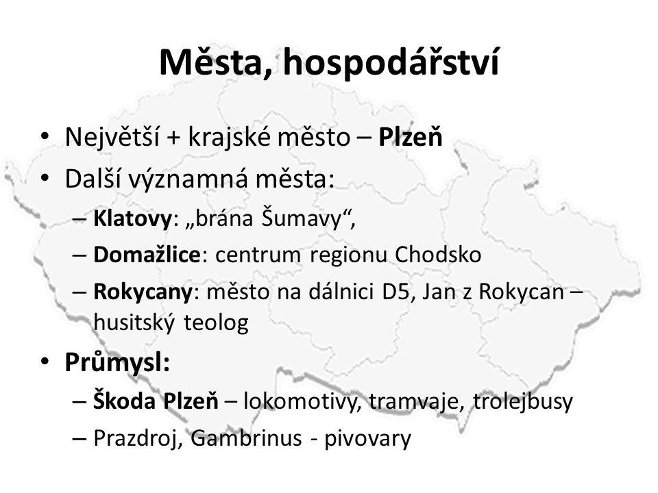 """Města, hospodářství Největší + krajské město – Plzeň Další významná města: – Klatovy: """"brána Šumavy"""", – Domažlice: centrum regionu Chodsko – Rokycany:"""
