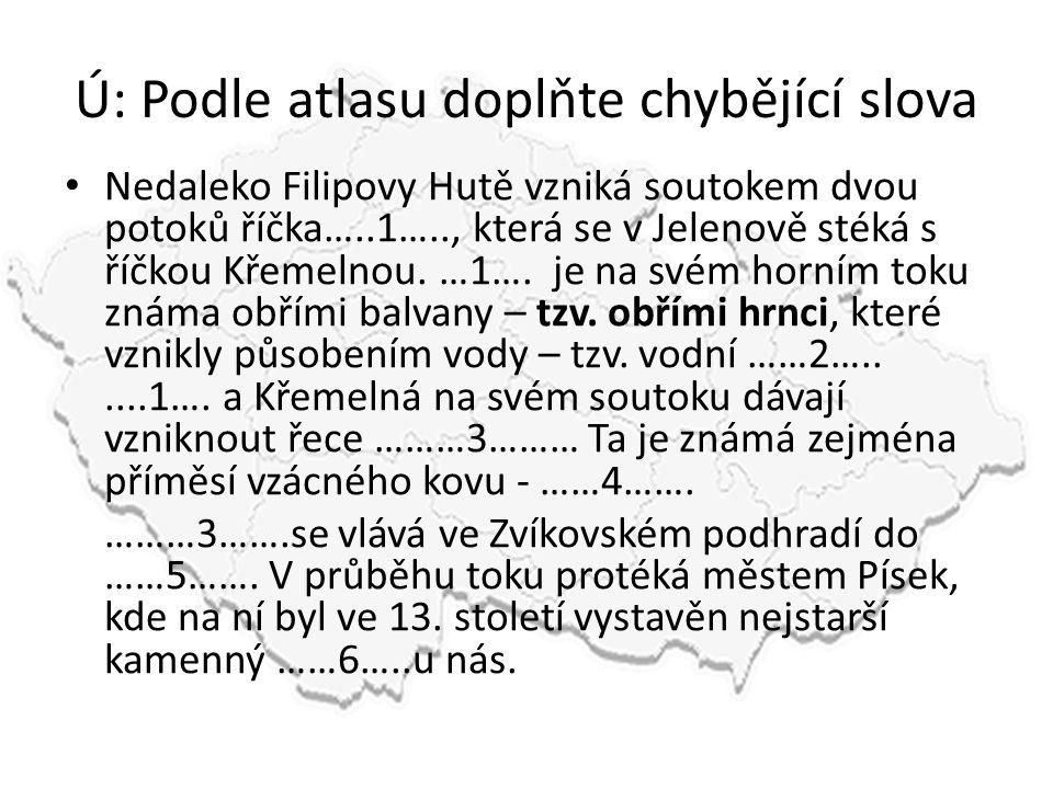 Ú: Podle atlasu doplňte chybějící slova Nedaleko Filipovy Hutě vzniká soutokem dvou potoků říčka…..1….., která se v Jelenově stéká s říčkou Křemelnou.