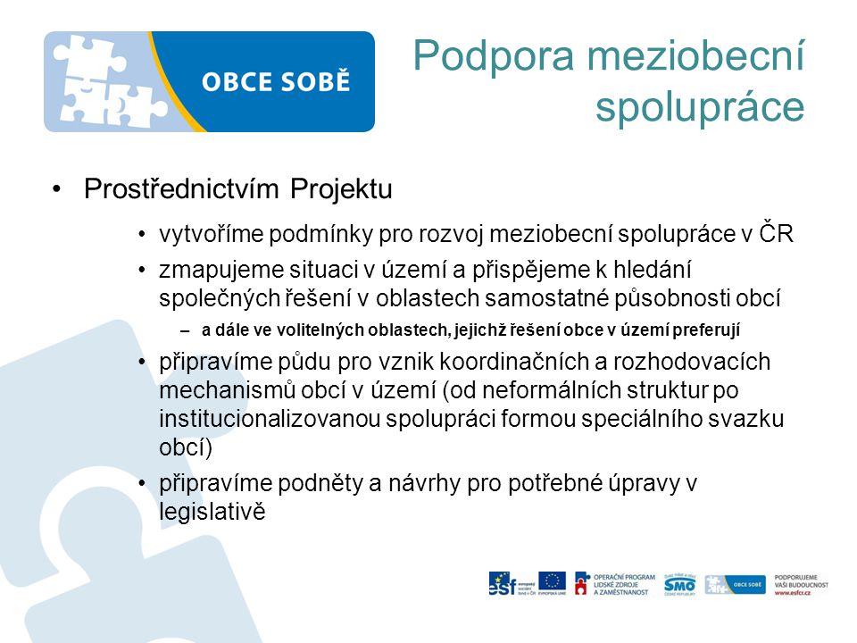 Podpora meziobecní spolupráce Prostřednictvím Projektu vytvoříme podmínky pro rozvoj meziobecní spolupráce v ČR zmapujeme situaci v území a přispějeme