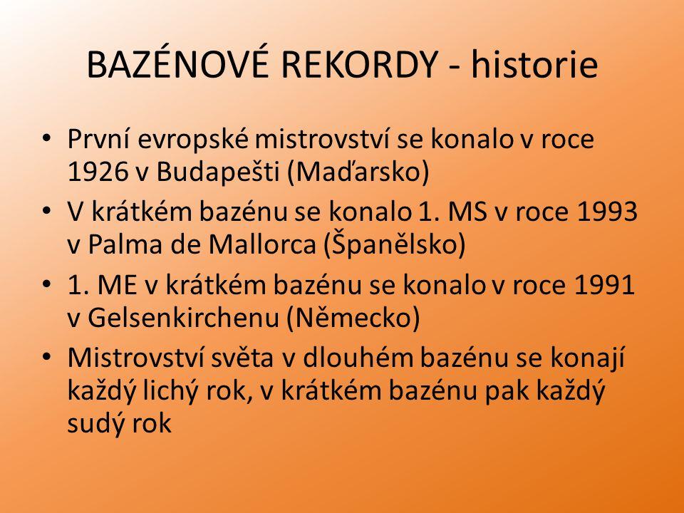 BAZÉNOVÉ REKORDY - historie První evropské mistrovství se konalo v roce 1926 v Budapešti (Maďarsko) V krátkém bazénu se konalo 1. MS v roce 1993 v Pal