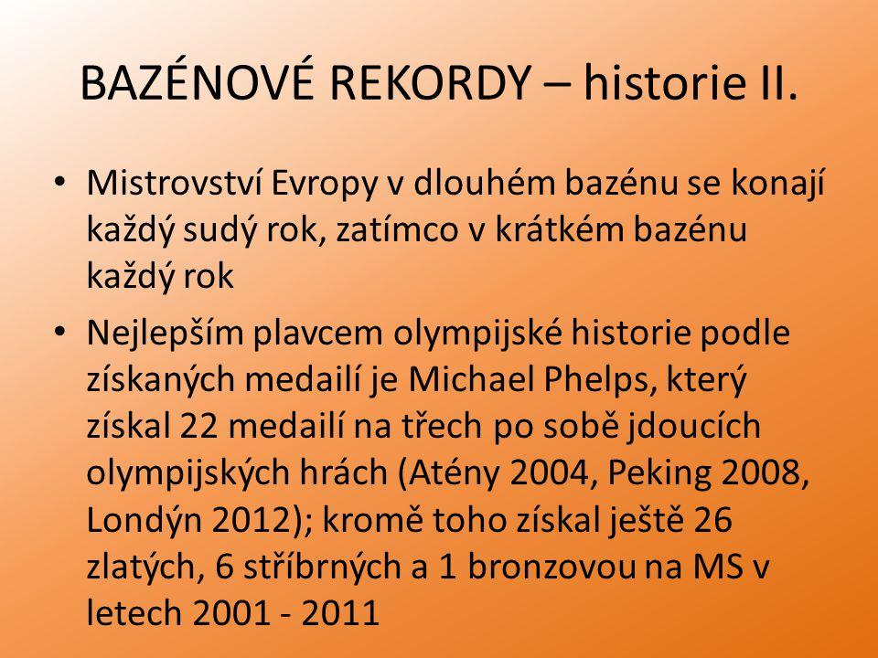 BAZÉNOVÉ REKORDY – historie II. Mistrovství Evropy v dlouhém bazénu se konají každý sudý rok, zatímco v krátkém bazénu každý rok Nejlepším plavcem oly