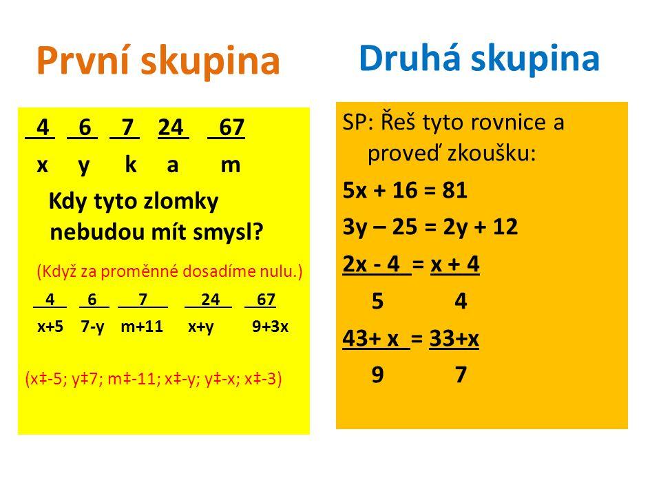 4 6 7 24 67 x y k a m Kdy tyto zlomky nebudou mít smysl? (Když za proměnné dosadíme nulu.) 4 6 7 24 67 x+5 7-y m+11 x+y 9+3x (x‡-5; y‡7; m‡-11; x‡-y;