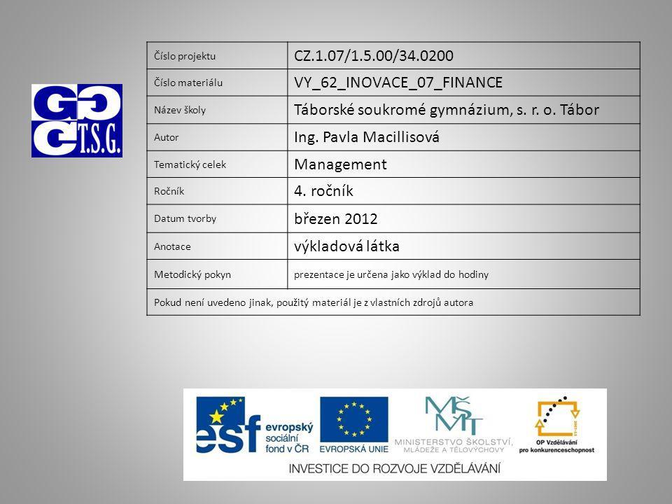 Číslo projektu CZ.1.07/1.5.00/34.0200 Číslo materiálu VY_62_INOVACE_07_FINANCE Název školy Táborské soukromé gymnázium, s.