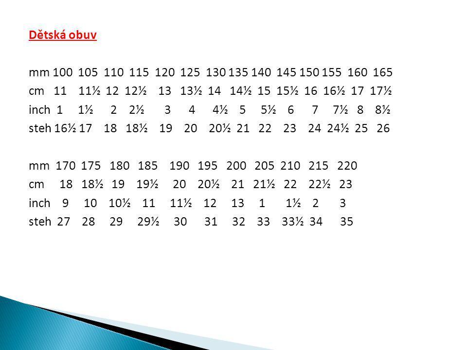 Dětská obuv mm 100 105 110 115 120 125 130 135 140 145 150 155 160 165 cm 11 11½ 12 12½ 13 13½ 14 14½ 15 15½ 16 16½ 17 17½ inch 1 1½ 2 2½ 3 4 4½ 5 5½