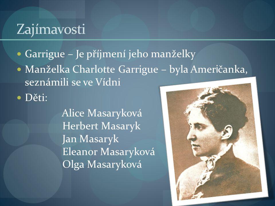 Zajímavosti Garrigue – Je příjmení jeho manželky Manželka Charlotte Garrigue – byla Amer i čanka, seznámili se ve Vídni Děti: Alice Masaryková Herbert