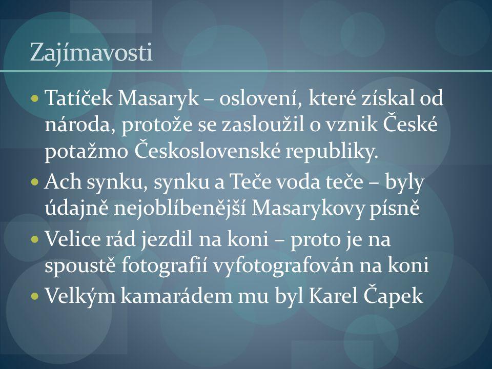 Zajímavosti Tatíček Masaryk – oslovení, které získal od národa, protože se zasloužil o vznik České potažmo Československé republiky. Ach synku, synku