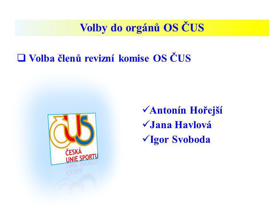 Volby do orgánů OS ČUS  Volba členů revizní komise OS ČUS Antonín Hořejší Jana Havlová Igor Svoboda
