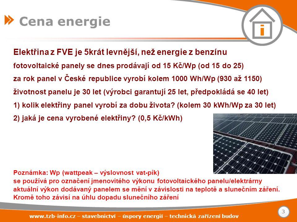 www.tzb-info.cz – stavebnictví – úspory energií – technická zařízení budov Elektřina z FVE je 5krát levnější, než energie z benzínu fotovoltaické pane