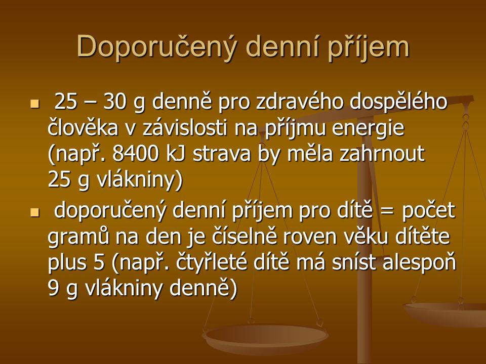 Doporučený denní příjem 25 – 30 g denně pro zdravého dospělého člověka v závislosti na příjmu energie (např. 8400 kJ strava by měla zahrnout 25 g vlák