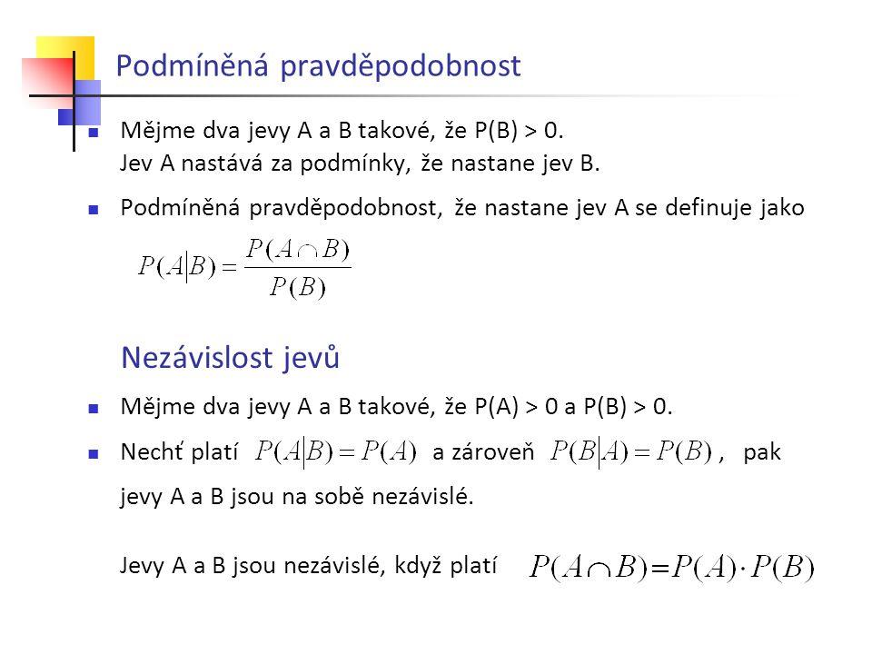 Podmíněná pravděpodobnost Mějme dva jevy A a B takové, že P(B) > 0. Jev A nastává za podmínky, že nastane jev B. Podmíněná pravděpodobnost, že nastane