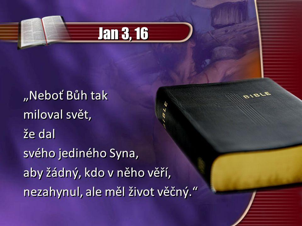 """Jan 3, 16 """"Neboť Bůh tak miloval svět, že dal svého jediného Syna, aby žádný, kdo v něho věří, nezahynul, ale měl život věčný."""" """"Neboť Bůh tak miloval"""