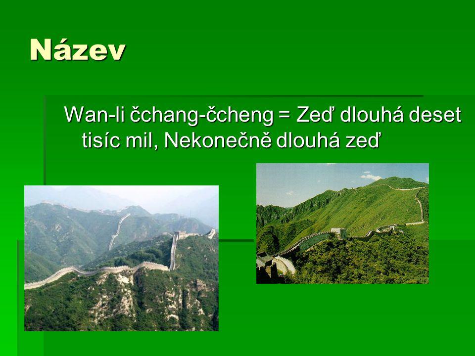 Název Wan-li čchang-čcheng = Zeď dlouhá deset tisíc mil, Nekonečně dlouhá zeď