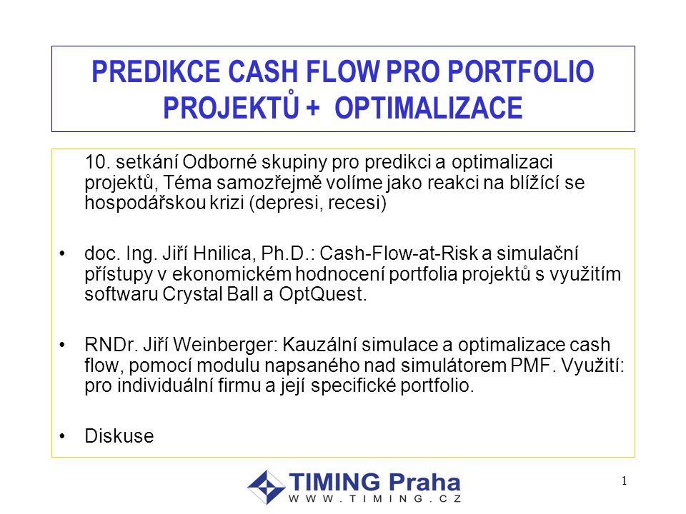 1 PREDIKCE CASH FLOW PRO PORTFOLIO PROJEKTŮ + OPTIMALIZACE 10.
