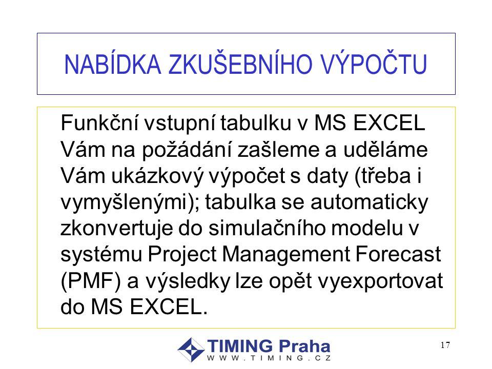17 NABÍDKA ZKUŠEBNÍHO VÝPOČTU Funkční vstupní tabulku v MS EXCEL Vám na požádání zašleme a uděláme Vám ukázkový výpočet s daty (třeba i vymyšlenými); tabulka se automaticky zkonvertuje do simulačního modelu v systému Project Management Forecast (PMF) a výsledky lze opět vyexportovat do MS EXCEL.