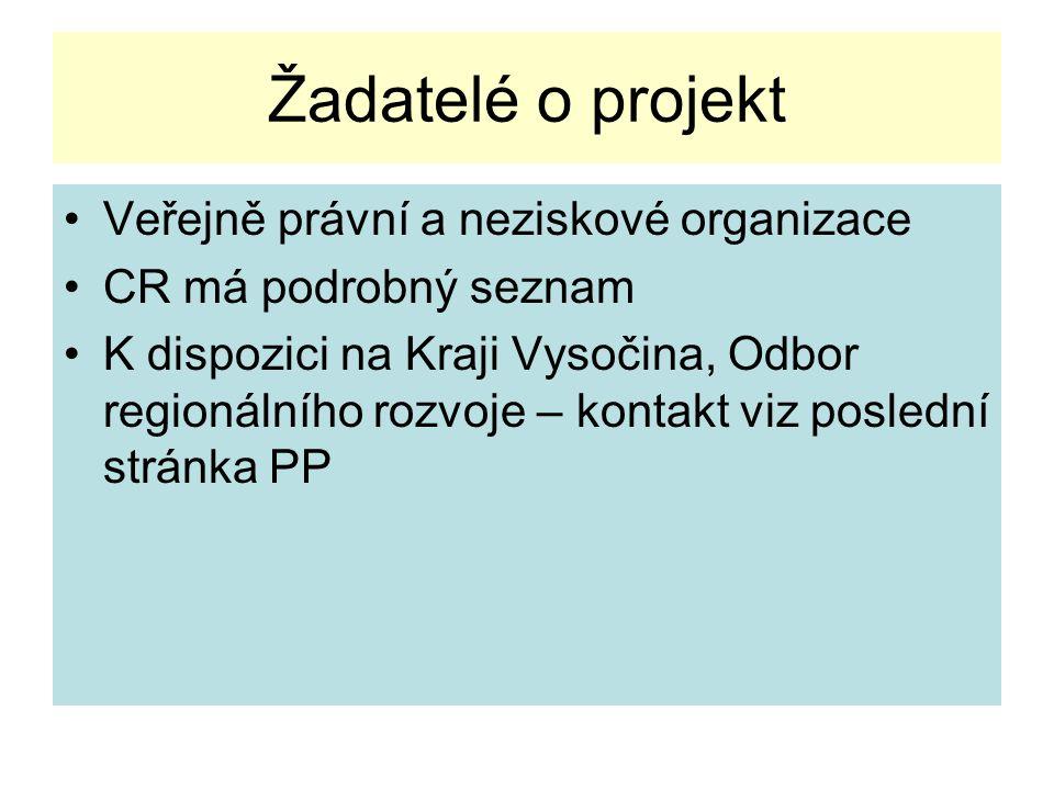 Žadatelé o projekt Veřejně právní a neziskové organizace CR má podrobný seznam K dispozici na Kraji Vysočina, Odbor regionálního rozvoje – kontakt viz poslední stránka PP