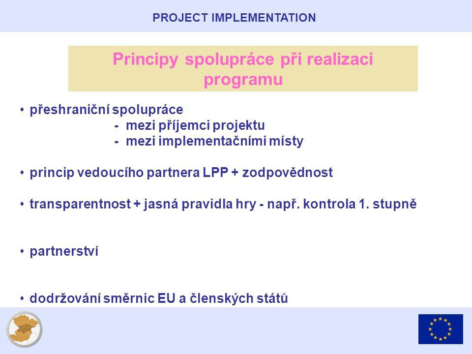 PROJECT IMPLEMENTATION Principy spolupráce při realizaci programu přeshraniční spolupráce - mezi příjemci projektu - mezi implementačními místy princip vedoucího partnera LPP + zodpovědnost transparentnost + jasná pravidla hry - např.