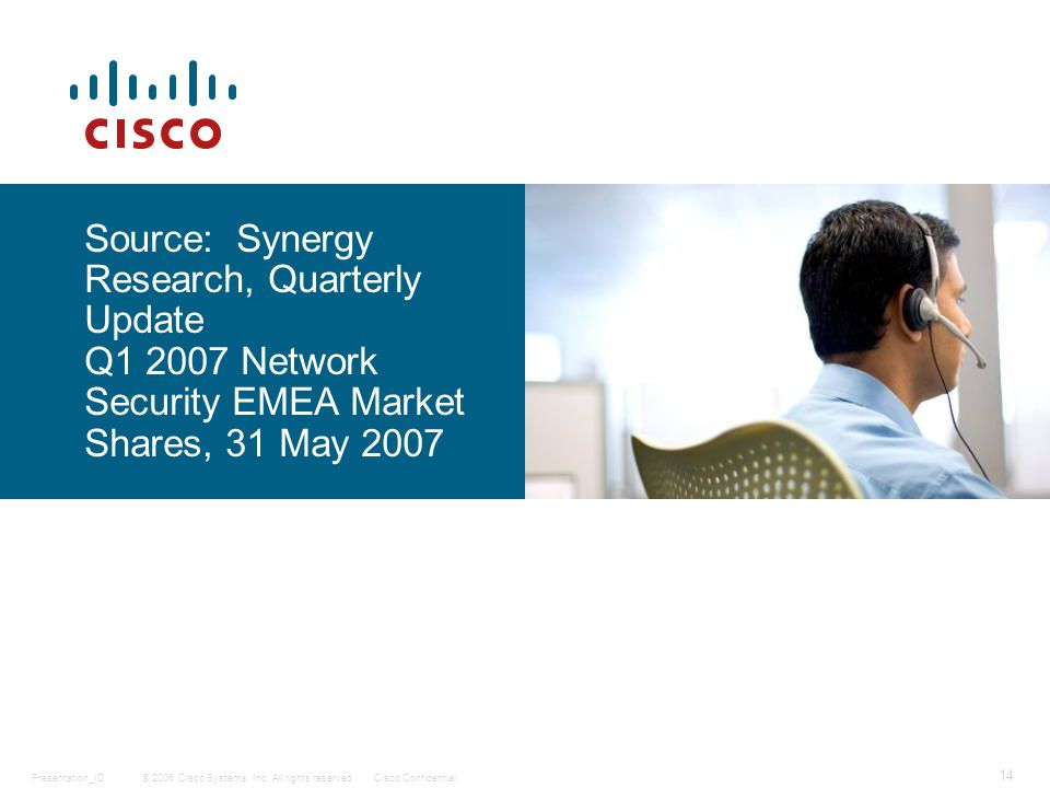 © 2006 Cisco Systems, Inc. All rights reserved.Cisco ConfidentialPresentation_ID 14 Source: Synergy Research, Quarterly Update Q1 2007 Network Securit