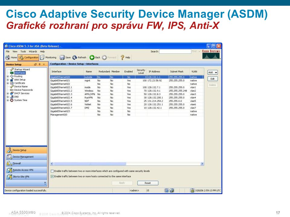 © 2006 Cisco Systems, Inc. All rights reserved.Presentation_ID 17 Cisco Adaptive Security Device Manager (ASDM) Grafické rozhraní pro správu FW, IPS,