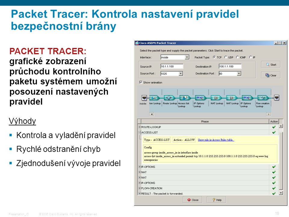 © 2006 Cisco Systems, Inc. All rights reserved.Presentation_ID 18 Packet Tracer: Kontrola nastavení pravidel bezpečnostní brány PACKET TRACER: grafick